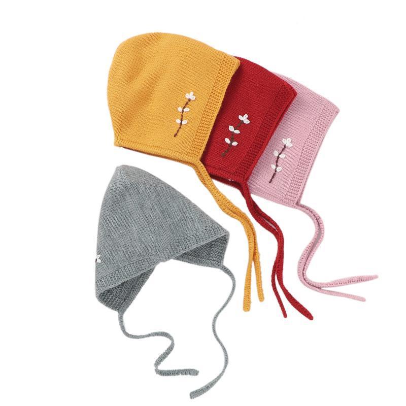 0-24M Neugeborenes Baby-Mädchen-Herbst-Winter-Mütze stricken Blumen Warm Beanie Mütze mit Kinnriemen