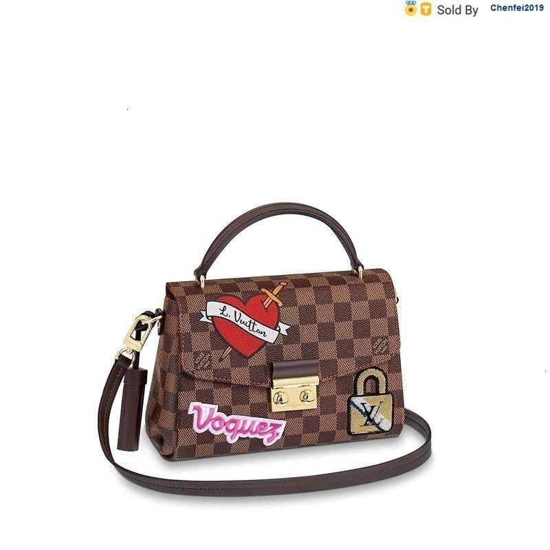 chenfei2019 0QSW Edition Croisette Brown Embroidery Print Shoulder Strap Shoulder Bag N40055 Totes Handbags Shoulder Bags Backpacks Wallets