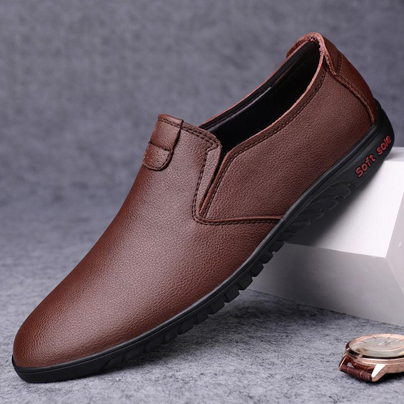 Yeni Casual Deri Erkek Loafers Nefes İş Deri Ayakkabı Moda Erkek Düz Spor Ayakkabılar Slip Mens