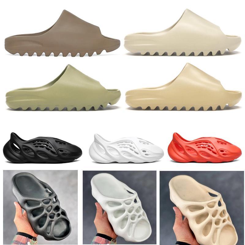 2020 Köpük Runner Sandal Terlik Üçlü Siyah Beyaz Kemik Reçine Çölde Kum Kanye West Erkekler Kadınlar Slaytlar Sandalet Ayakkabı ABD 5-11