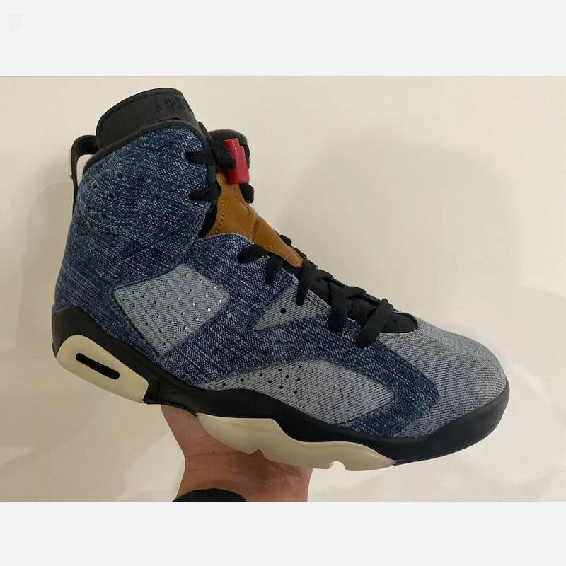 NKJO6A 2020 Hot sale high quality Retro Men Basketball Shoes CT5350-401 X 6 Washed Denim Sail Varsity Red Black Blue Casual Sneakers 40-46