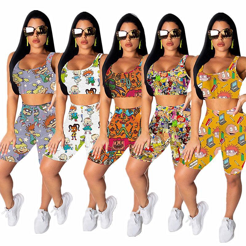 Мультфильм для печати Женщины Шорты Tracksuit лето без рукавов футболки Топы + шорты двухкусочный Set Мода Костюмы Jogger Спортивная костюм Лучшие продажи
