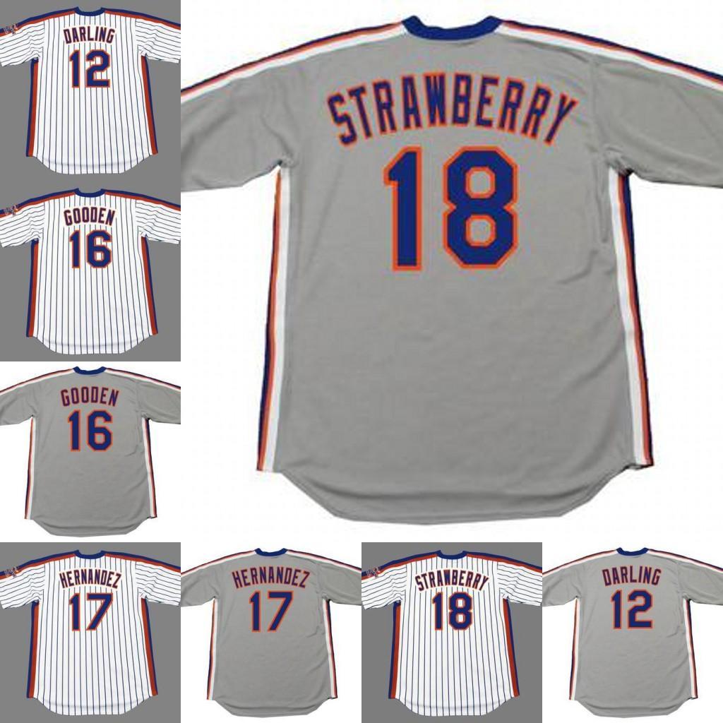 New York 12 RON DARLING 16 Dwight Gooden 17 Keith Hernandez 18 MORANGO 20 HOWARD JOHNSON 26 Dave Kingman jérsei de basebol