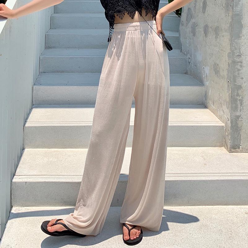Daeyard Frauen Sommer-dünne Silk Hosen mit weitem Bein lose Hosen Hosen mit hoher Taille lange Art und Weise Jogginghose Large Size CX200804