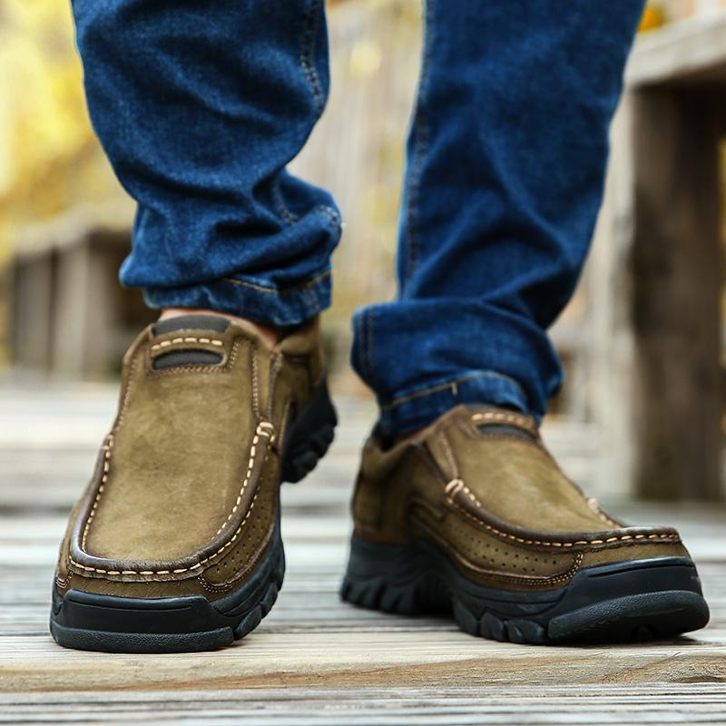 Sapatos de escalada de couro dos homens tênis para caminhada Cowskin Loafers Boa Qualidade Plus Size Large 38-50 ocasional cáqui marrom preto