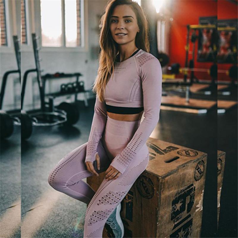 YOGA Kıyafetler Spor Tayt Kadınlar Için Yüksek Elastik Pantolon Fitness Koşu Koşu Nefes