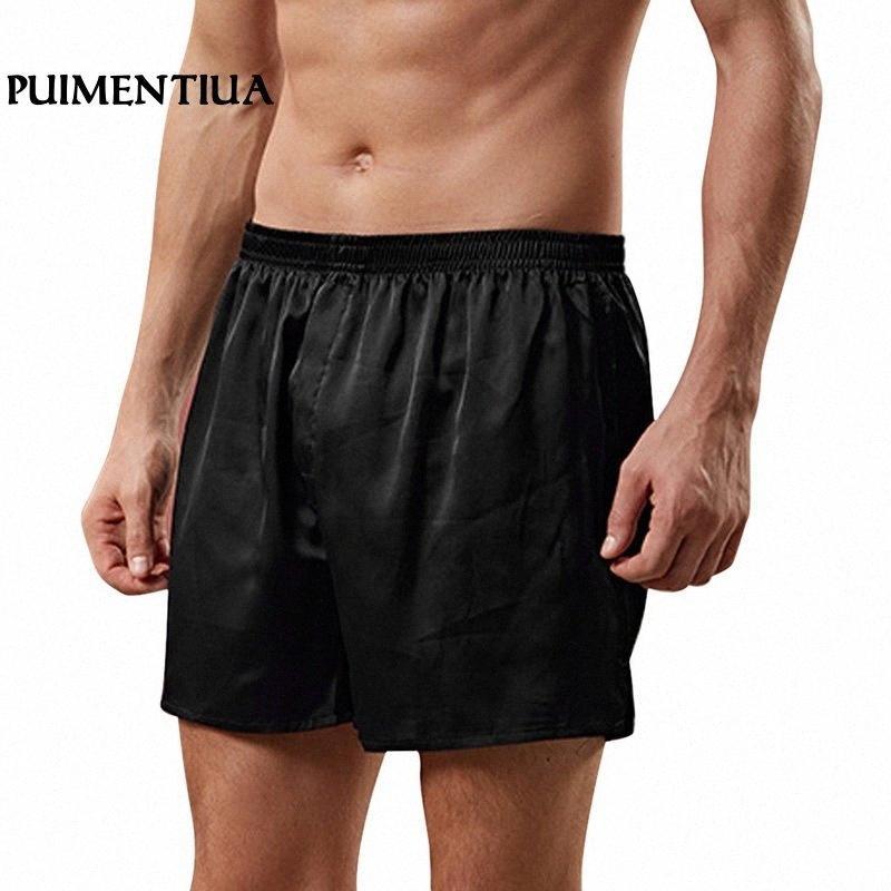Puimentiua 2.020 hombres de raso de seda boxeadores Homewear pantalones cortos de seda de lujo de Loungewear pijama corto más el tamaño de los cortocircuitos ocasionales flojas GFhk #