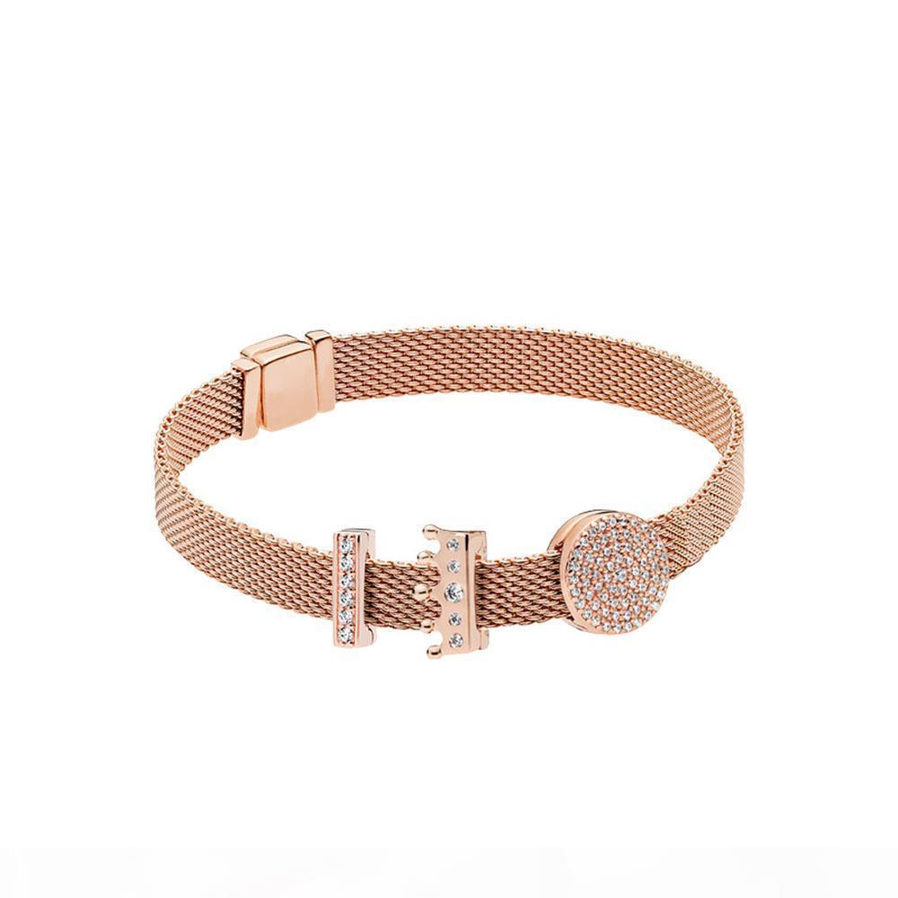 925 Sterling Silber stieg Reflexion Logoclip Charme Reflexion Krone Clip Für Designer-Stil eternalcharm Armband