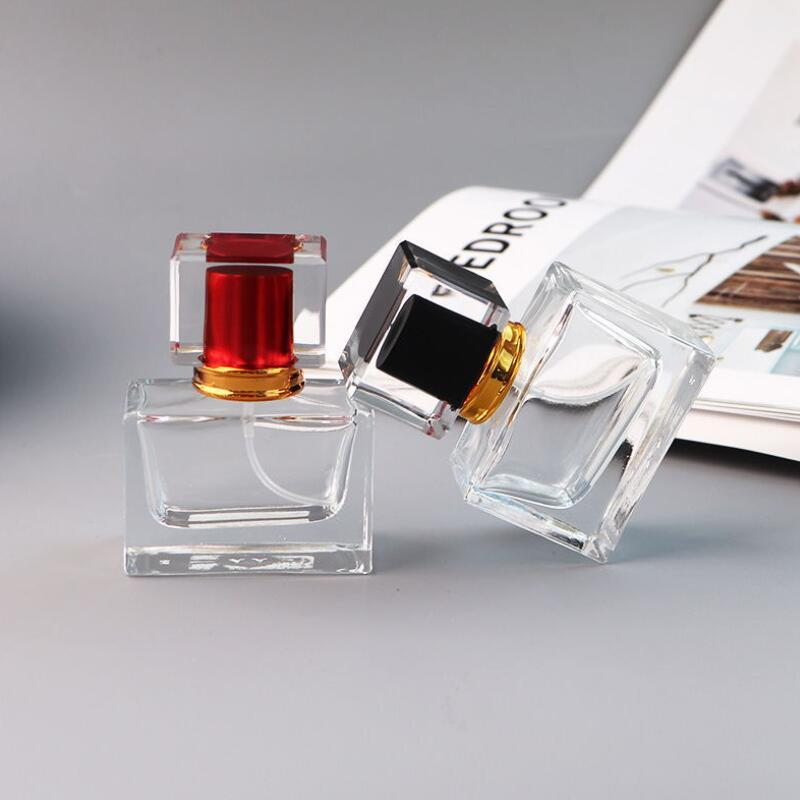 Оптовая 30мл Прямоугольная Perfume Spray Pump GLASS 30ml Пустые бутылки Духи с 5 цветов Atomizer Perfume Bottle LX2508