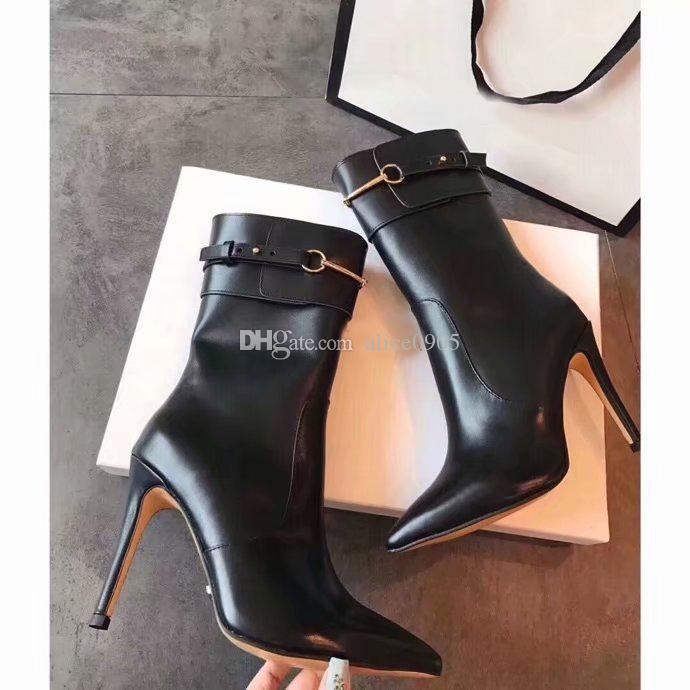 [Orignal Box] Luxury New Womens Ankle Metals Half Army High Heel 10CM Boot Buckle Strap Knight Motorcycle Pointed Toes Boots Size 35-40