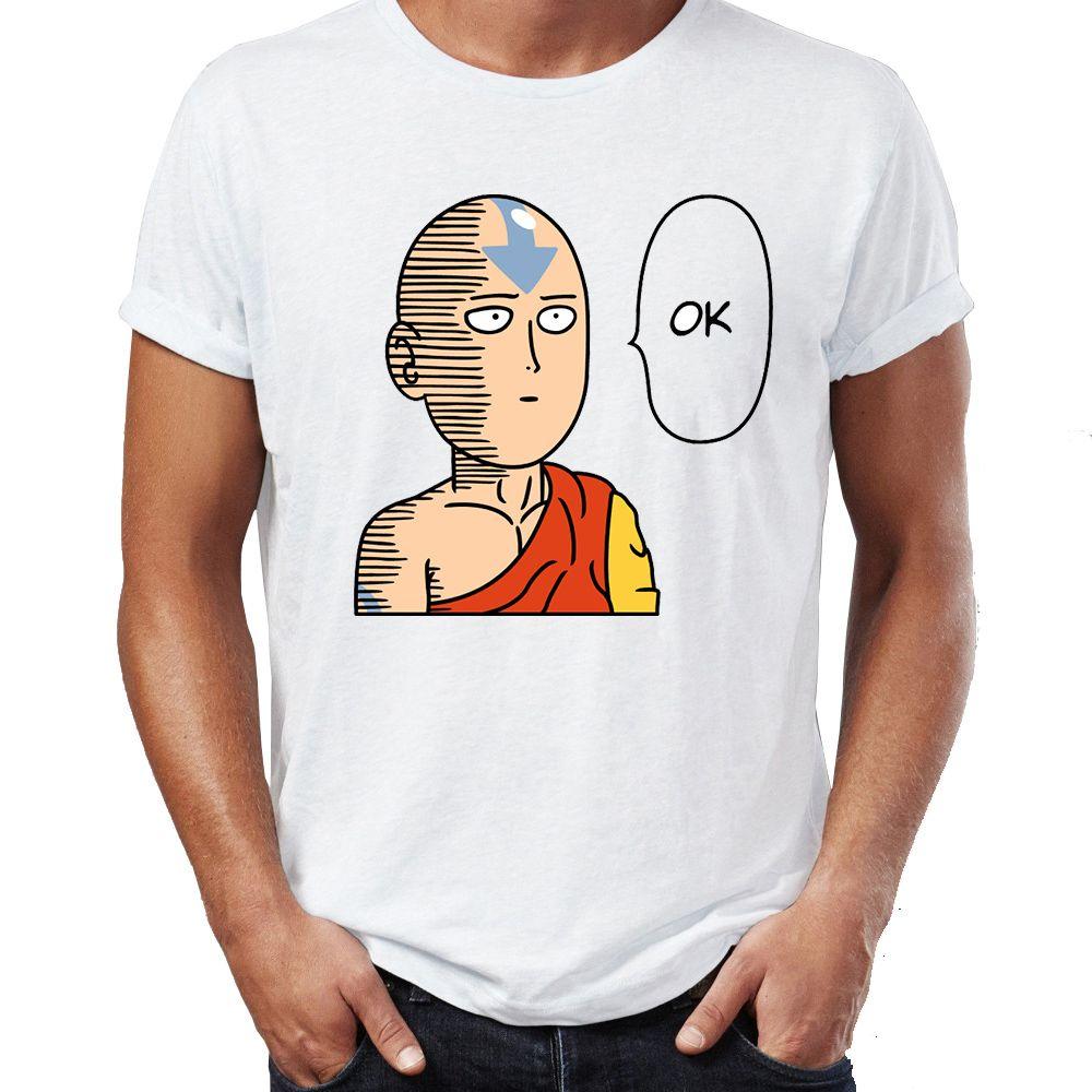 Erkekler T Shirt One Punch Son Hava Bükücü Piccolo Pinhead Kırmızı Kafatası Komik Crossover Nerdy Tee
