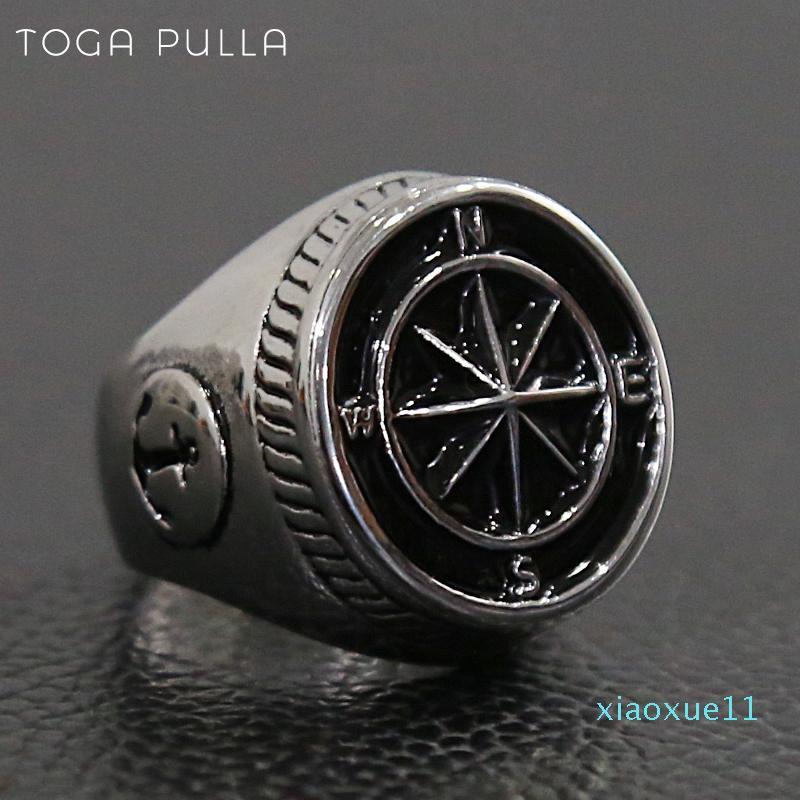 Gioielli lusso- epoca vichinga Pirate Croce bussola pesante anello d'argento in acciaio inox di ancoraggio Anello Uomini Donne punk Motociclista