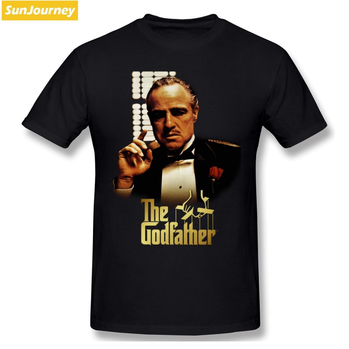 Высокий Крестный отец Вито Корлеоне Tshirts Плюс Размер O-образным вырезом хлопок на заказ с коротким рукавом Мужская футболка
