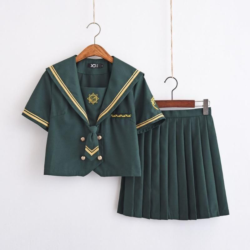 New Arrival Japanese School Green Sailor Suit Hackbuteer Armbands JK Uniforms Chorus British School Girl Uniform Set S-XXL