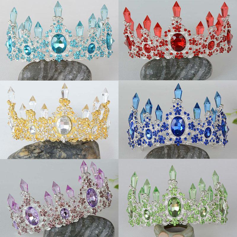 Altın Gümüş Renk Barok Kraliyet Mavi Kristal Düğün Taç Kırmızı Yapay elmas Gelin Vintage Yarışması Tiara İçin Gelin Saç Aksesuarı MX200720