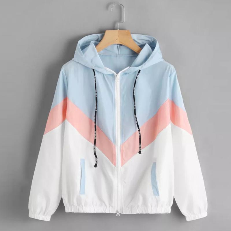Esporte Color Block Zipper retalhos com capuz Correndo Jacket Zipper Pockets Casual mangas compridas Feminino Outwear