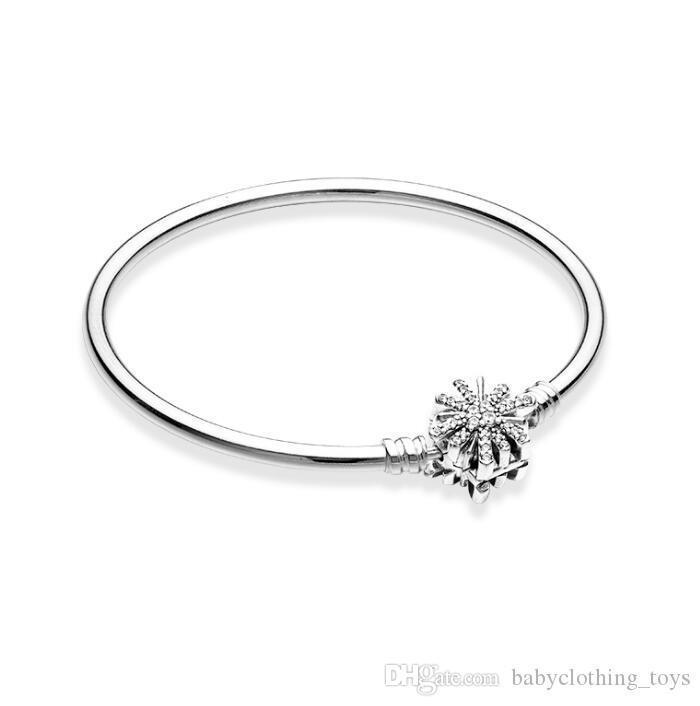Encantos real S925 plata pulseras pulsera brazalete con brillante estrella de cierre Adecuados para Pandora DIY del encanto del grano