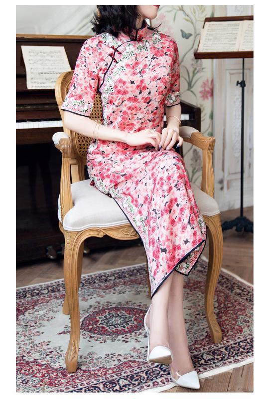 Nouveau Qipao de col mandarin style rétro chinois d'automne littéraire améliorée robe imprimée Rose pour les femmes