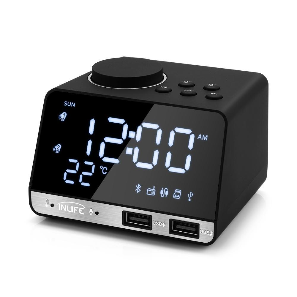 Bluetooth 4.2 Radio Alarm Clock Speaker With 2 USB Ports LED Digital Alarm Clock Home Decration Snooze Table Clock