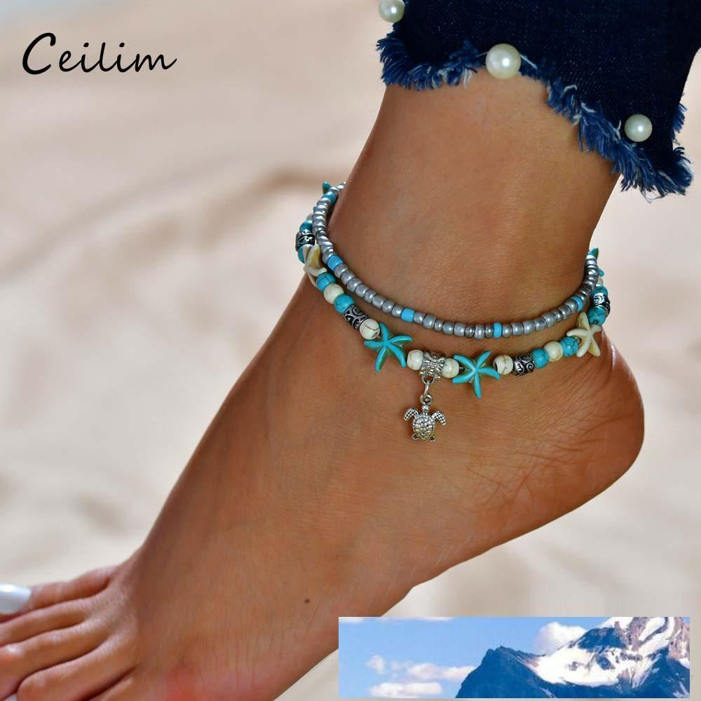 Schildkröten-Anhänger Fußkettchen Perlen Starfish für Frauen antike silberne Farbe Jahrgang Barefoot Sandale Statement Armband Fußfessel Boho Schmuck