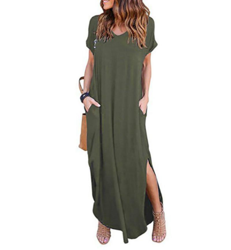 vestido de color de verano novedosos cucharadas de estilo sencillo con mangas cortas larga aumentar grasa MM bolsillo suelta 5 xl