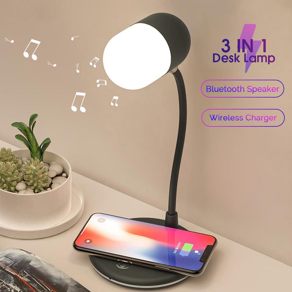 LED Desk Lamp Speaker 3 in 1 QI Wireless Charging Led Table Reading Desk lamp Smart Power Sound lamp Stepless 360° Flexible Night light L4