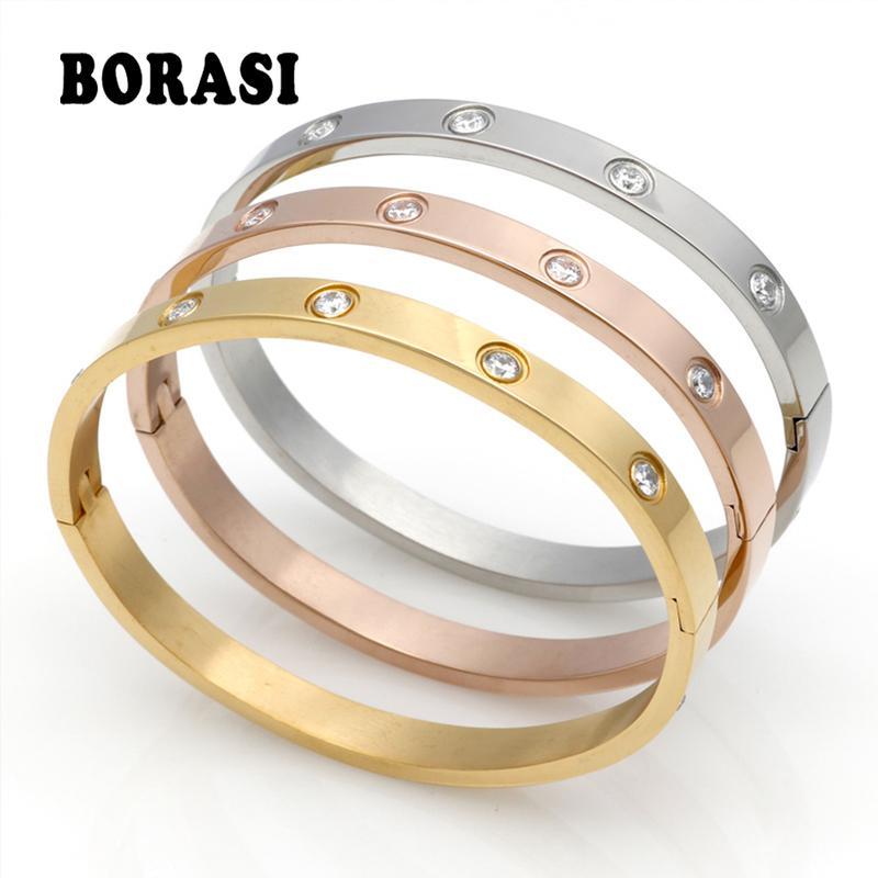 Brazalete cristalino de la manera joyas pareja amor por las mujeres / de los hombres del color oro de acero inoxidable pulseras brazaletes Bijoux mejor regalo