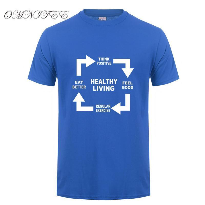 Estate Uomini Tees Healthy Living Style T-shirt in cotone a maniche corte Sentire Pensare Eat Esercizio uomo T-shirt Top XS-5XL