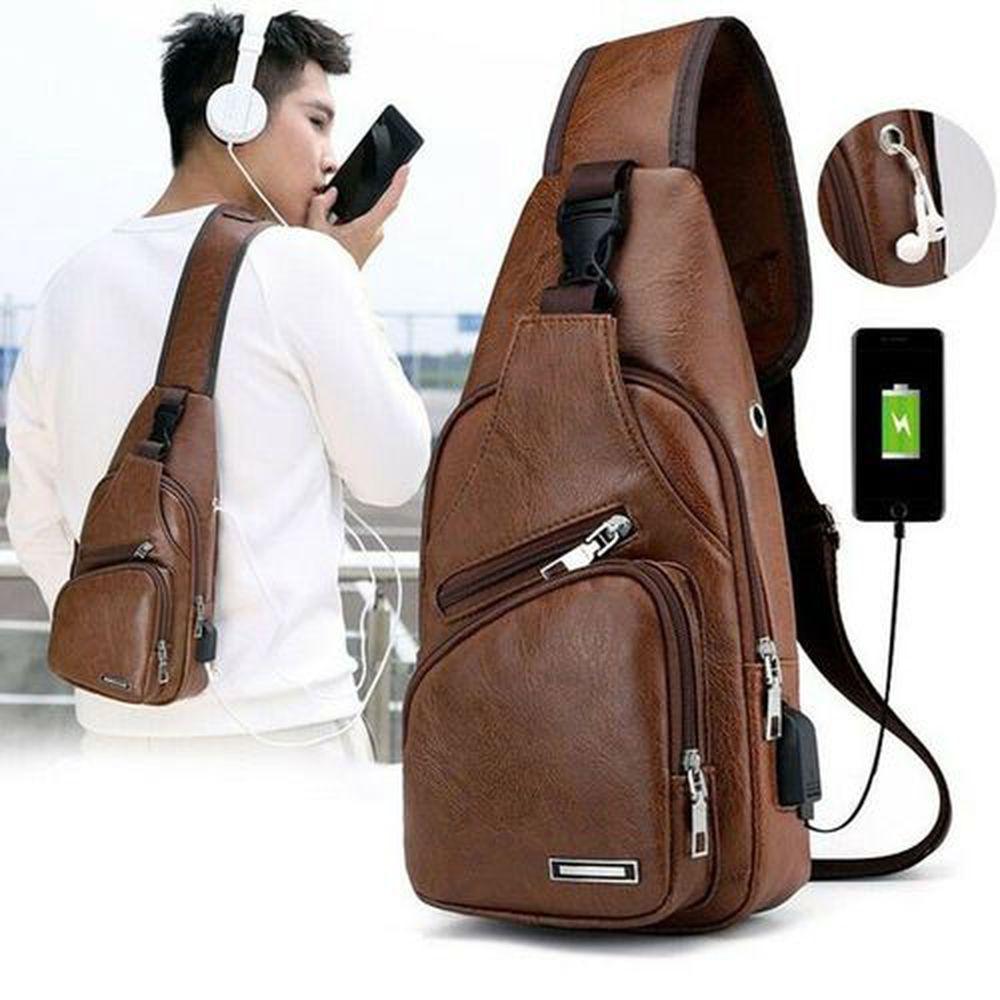 La carga USB portátil Casual Deportes Mochila Crossbody del bolso de hombro del bolso del pecho