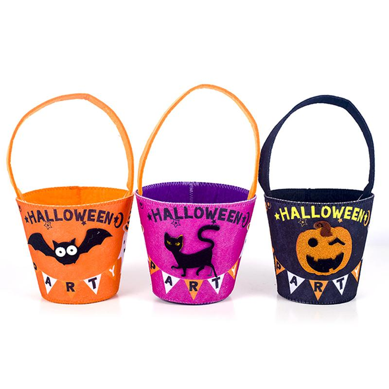 Halloween arte del panno di feltro bambini Candy Bags Trick or Treat Candy mano carrello