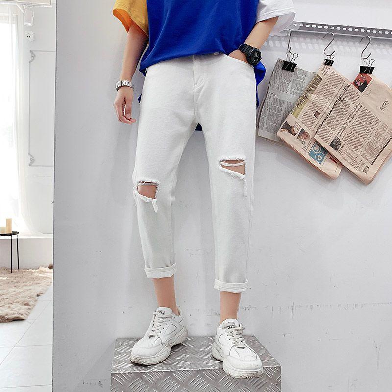 Negro blanco arrancó jeans para hombres manera lavó el casual pantalones vaqueros rectos de los hombres de Calle floja de Hip Hop rasgado Pantalones vaqueros para hombre 27-38