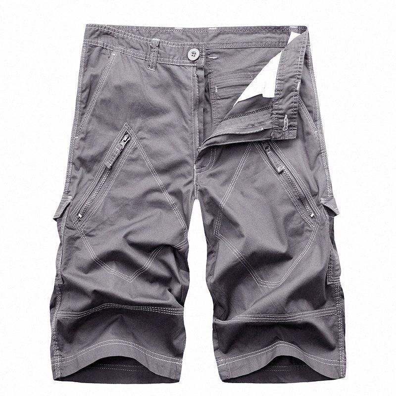 Erkekler Kargo Şort Yaz Pamuk Kısa Erkekler Diz Boyu Pantolon Erkek Casual Kısa Pantolon Moda Giyim 2020 Artı boyutu uyQh #
