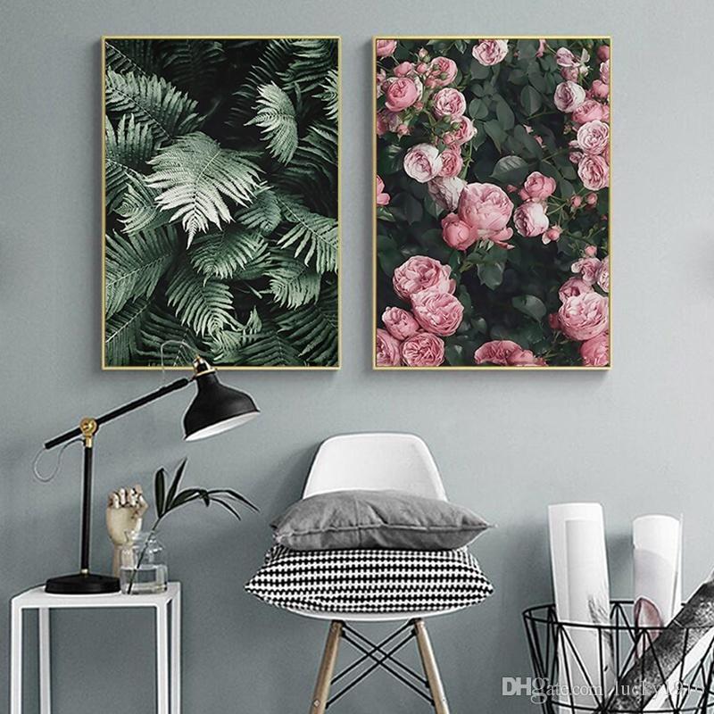 Salon Ev Dekorasyonu için Modern Duvar Sanatı Resimleri Boyama İskandinav Botanik Poster Baskılar İskandinav Yeşil Yaprak Pembe Gül Çiçek Yağı