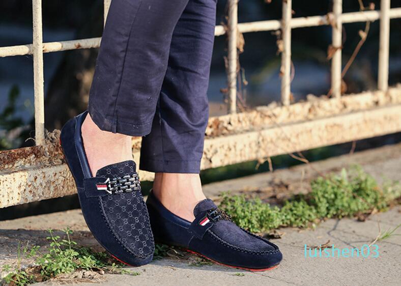 luxe Leisure Flats mens concepteur chaussures habillées Casual Daim mariage Métal Boucle baskets mode Chaussures Chaussures homme grande taille L03