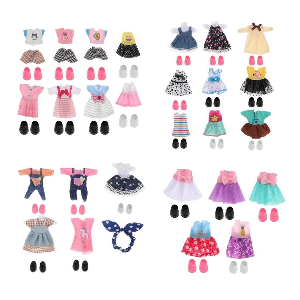 27 ensembles 16cm 1/12 poupée fille Mini Vêtements Chaussures BJD Doll Vêtements Filles Cadeaux