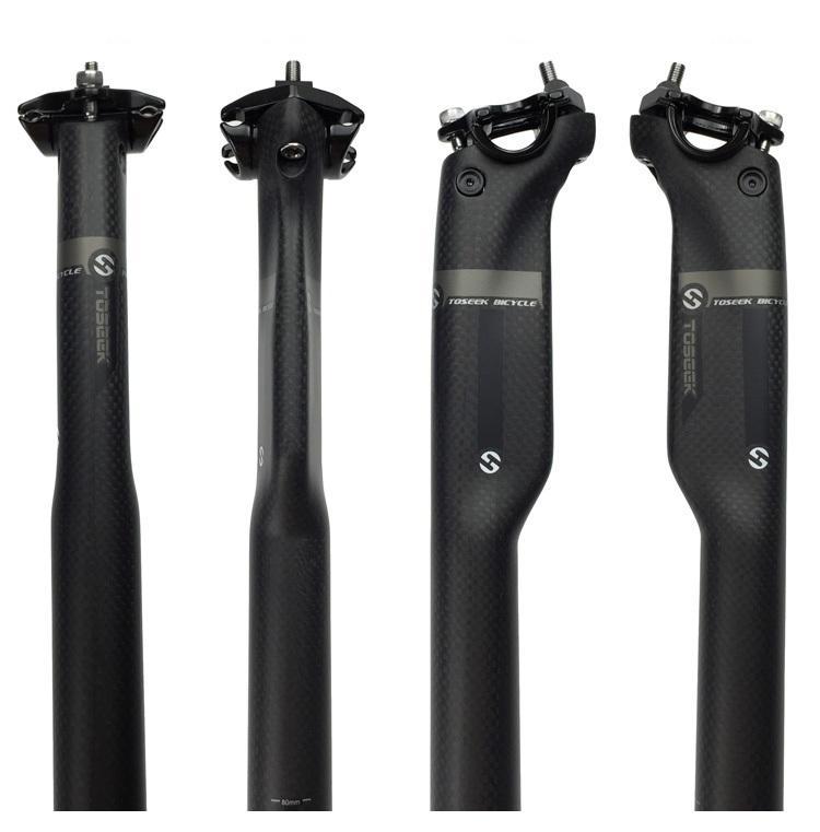 New TOSEEK 3K Matte Fibra de Carbono total Seatpost MTB Mountain Road Bike Cycling selim de bicicleta Peças 27,2 / 30,8 / 31,6 * 350 / 400MM