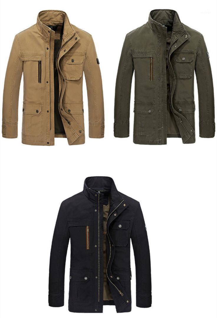Jackeets Rahat Boyun Gevşek Erkek Dış Giyim Cep Fermuar Fly Erkekler Tasarımcı Coats İlkbahar Sonbahar Casual Standı