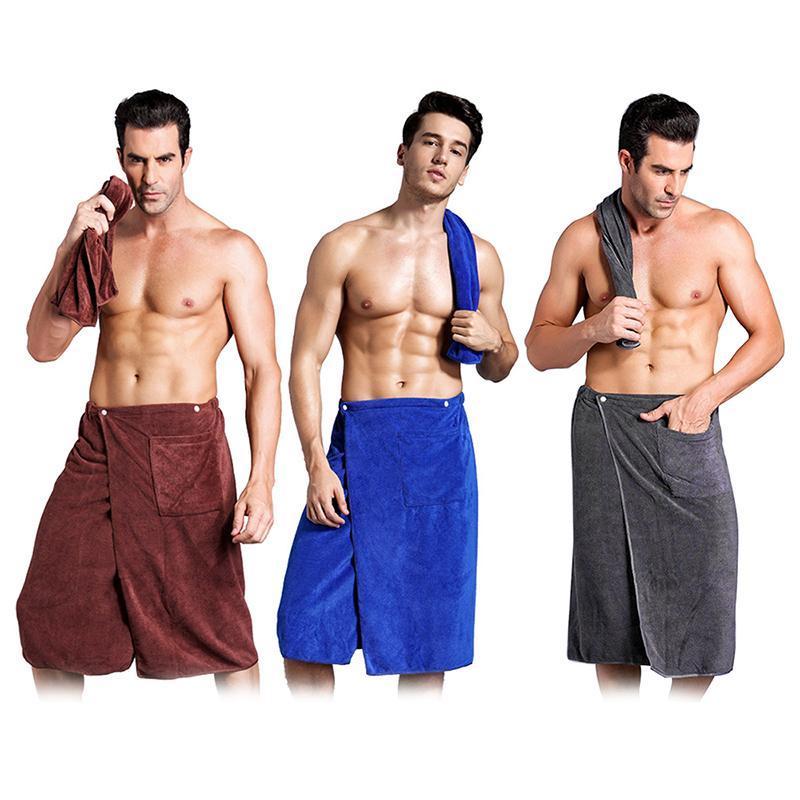 Роскошные носимого Мужчины Ванна Wrap Полотенце Платье Юбка с карманного Домашний текстиль Полотенца для пляжа Путешествия Спорт Gym полотенце Набор для взрослых Человек