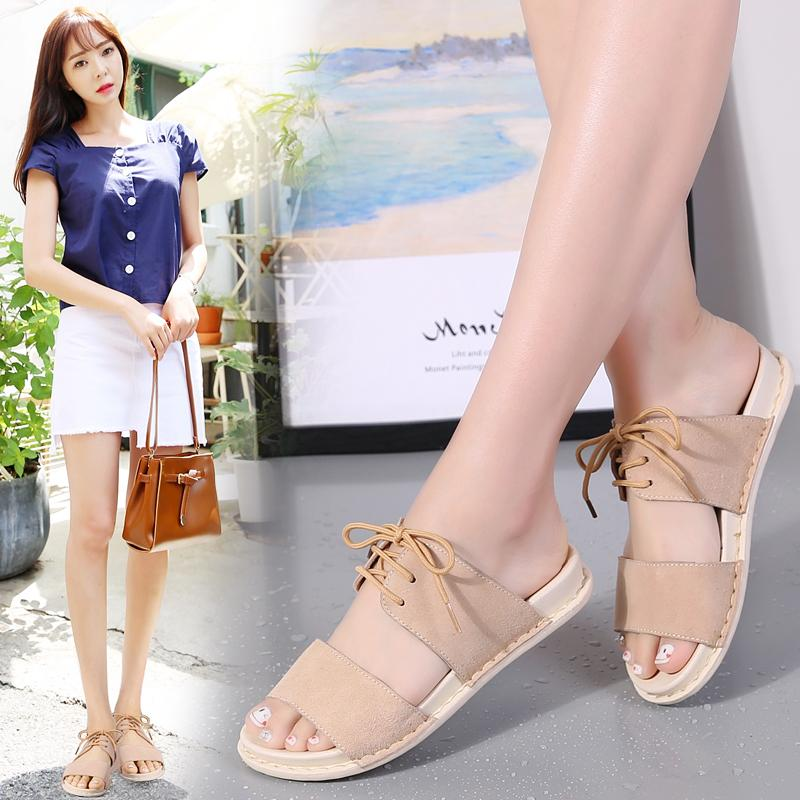 2020 Mulheres sandálias de verão rendas até sandálias com tira no tornozelo Summer Beach Sandals Mulheres Flip Flops Ladies Plano Sandalas Feminino 626