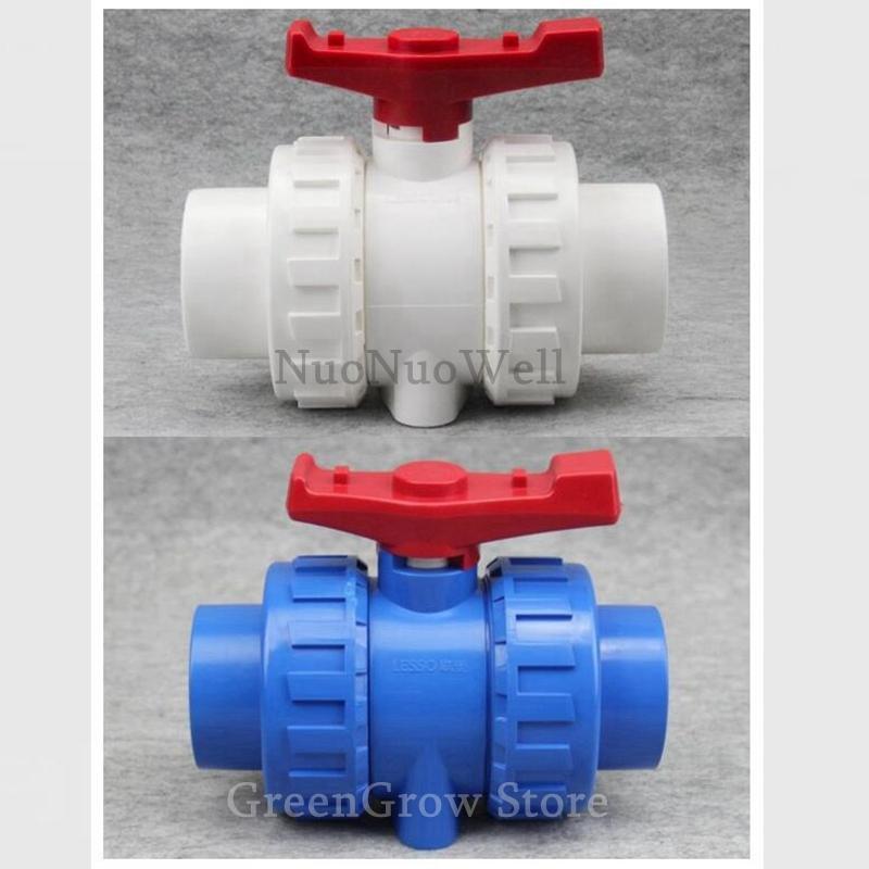 1pc 20 ~ 63mm PVC Vanne à boisseau sphérique aquarium Conduite d'eau Connecteur industriel traitement de l'eau tuyaux en PVC Globe Valve double Paritaire