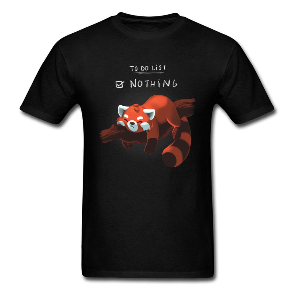 Red Panda Day-T-Shirt der lustigen Männer-T-Shirt nichts zu tun Tops Sommer Cotton Tee Schwarz T Shirts Studenten Kleidung Faule Stil