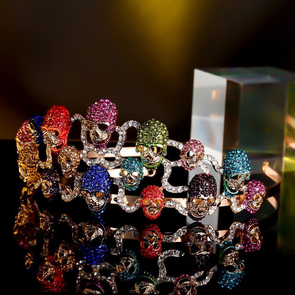 Tuliper Череп оголовье Голова Tiara Корона Скелет Hairband Кристалл Женщины Halloween Party Jewelry Iced Out Диадема MX200720