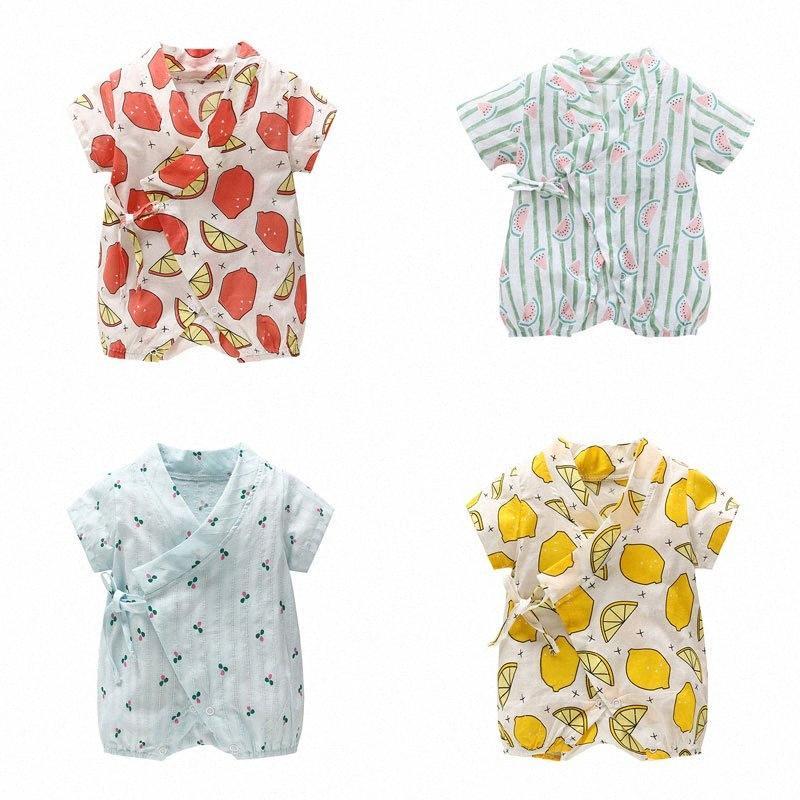 Karikatur-Frucht-Baby-Spielanzug Sommer neugeborene Baby-Jungen-Kleidung Baumwolle Kurzarm Kleinkind-Strampler Säuglings-Kleidung 6-18 Monate 08fK #