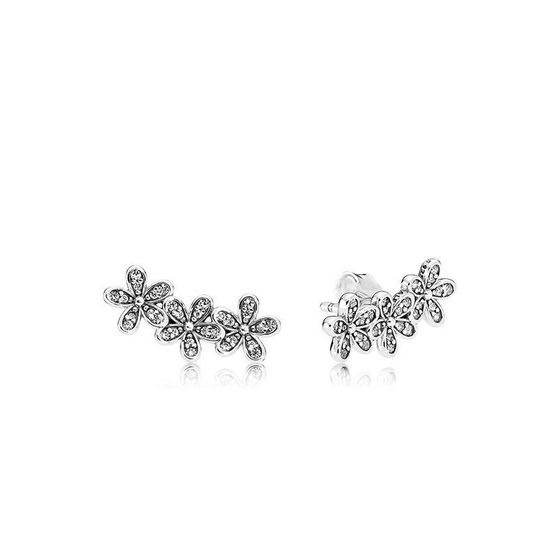 Authentique Argent 925 Fleurs boucle d'oreille avec la boîte logo Signature avec Crystal pour Boucles d'oreilles dormeuses bijoux Pandora femmes