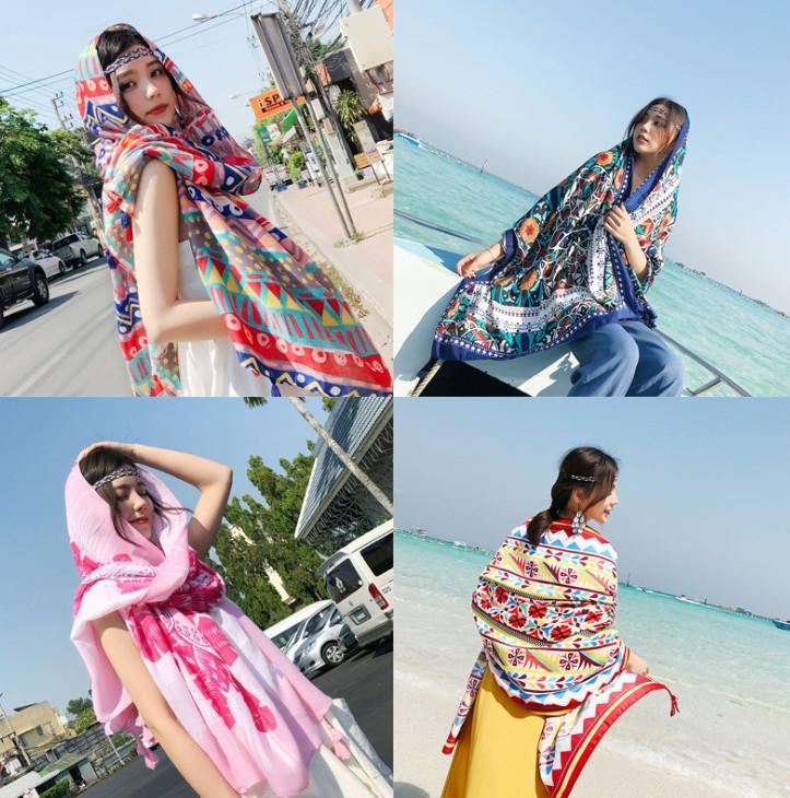 أحدث طراز 180x100cm حجم منشفة الشاطئ، 10،000 أنماط للاختيار من بينها، الرجعية سوبر طويلة الشمس شال شال مناشف حمام الصيف الإناث