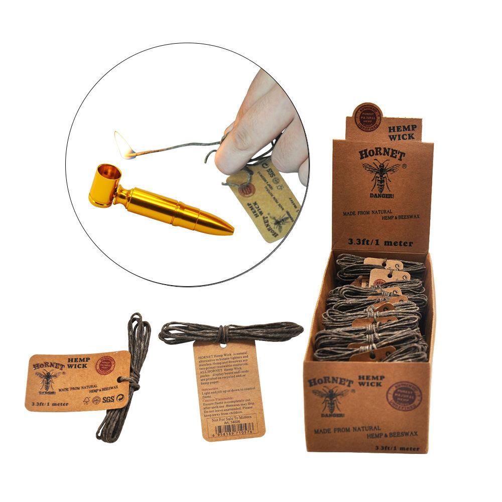 60pcs / lot HORNET cera d'api Wick per fumo di tabacco tubo 3.3ft / 1 metro Wick illuminazione corda della cera di fumo Accessori per pipe
