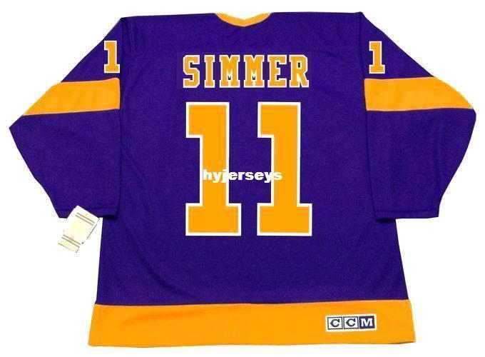 Hommes personnalisés Charlie Simmer Los Angeles Kings 1978 CCM Vintage Loin Cheap Retro Hockey Jersey