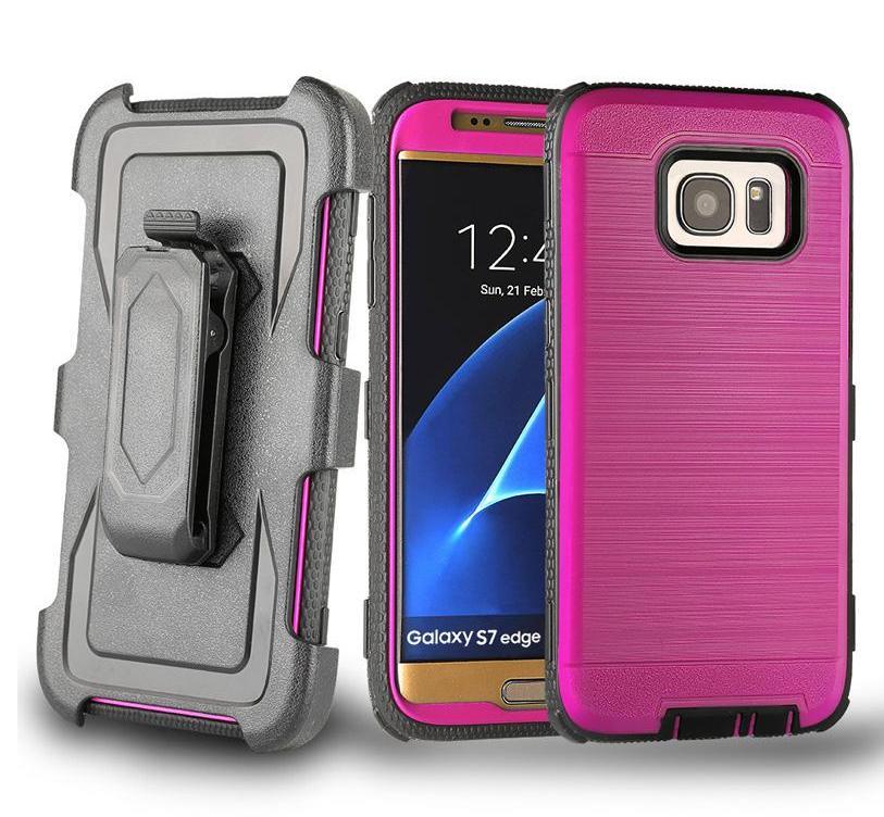 3 1 Fırçalı Ağır Hizmet Kemer Klip Hibrid Zırh Vaka İçin iPhone X 11 8 7 6 Samsung S7 Kenar S8 S9 Artı Not Note8 ON5 G530 J2 J3 J5 J7 Prime içinde