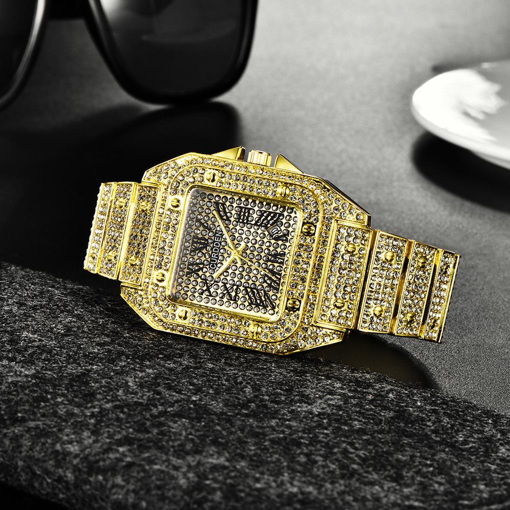 CURDDEN Marke Big Uhren Herren-Legierung Band-Datums-Diamant-Uhr