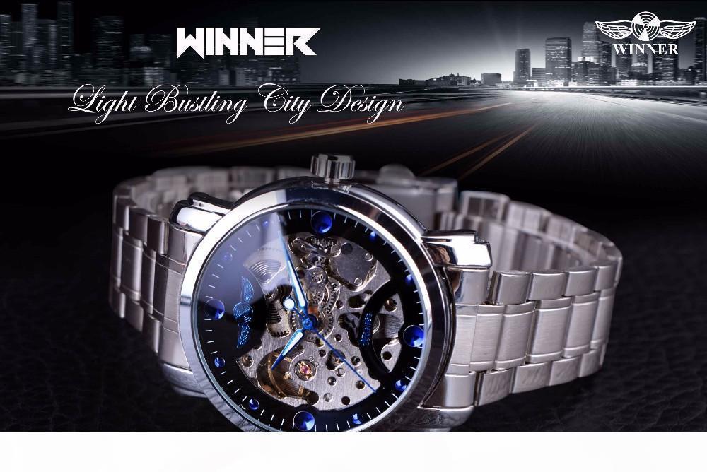 G Победитель Blue Ocean вскользь дизайнер из нержавеющей стали Мужские часы Скелет Мужские часы Top Brand Luxury часы автоматические часы